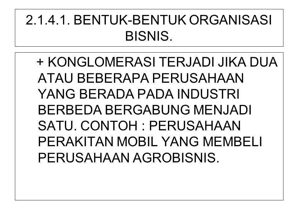 2.1.4.1. BENTUK-BENTUK ORGANISASI BISNIS. + KONGLOMERASI TERJADI JIKA DUA ATAU BEBERAPA PERUSAHAAN YANG BERADA PADA INDUSTRI BERBEDA BERGABUNG MENJADI