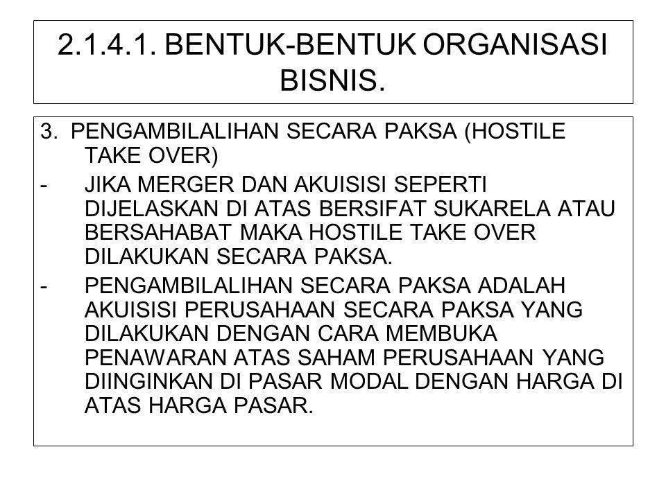 2.1.4.1. BENTUK-BENTUK ORGANISASI BISNIS. 3. PENGAMBILALIHAN SECARA PAKSA (HOSTILE TAKE OVER) -JIKA MERGER DAN AKUISISI SEPERTI DIJELASKAN DI ATAS BER