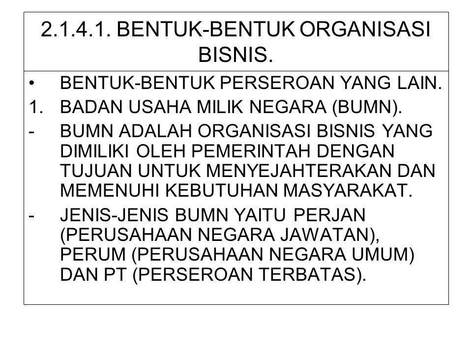2.1.4.1. BENTUK-BENTUK ORGANISASI BISNIS. •BENTUK-BENTUK PERSEROAN YANG LAIN. 1.BADAN USAHA MILIK NEGARA (BUMN). -BUMN ADALAH ORGANISASI BISNIS YANG D