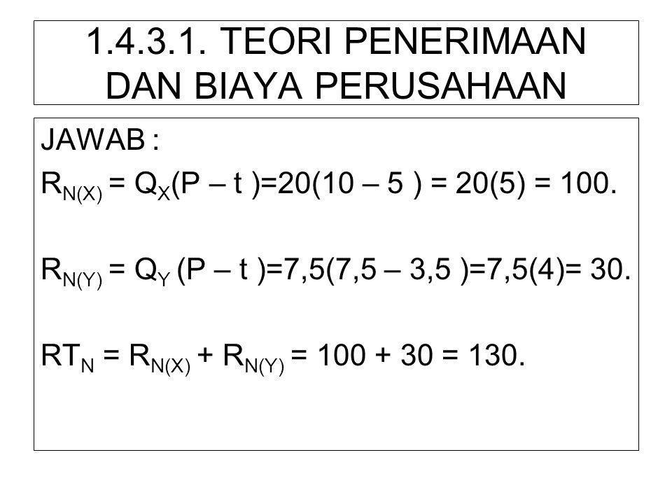 1.4.3.1. TEORI PENERIMAAN DAN BIAYA PERUSAHAAN JAWAB : R N(X) = Q X (P – t )=20(10 – 5 ) = 20(5) = 100. R N(Y) = Q Y (P – t )=7,5(7,5 – 3,5 )=7,5(4)=