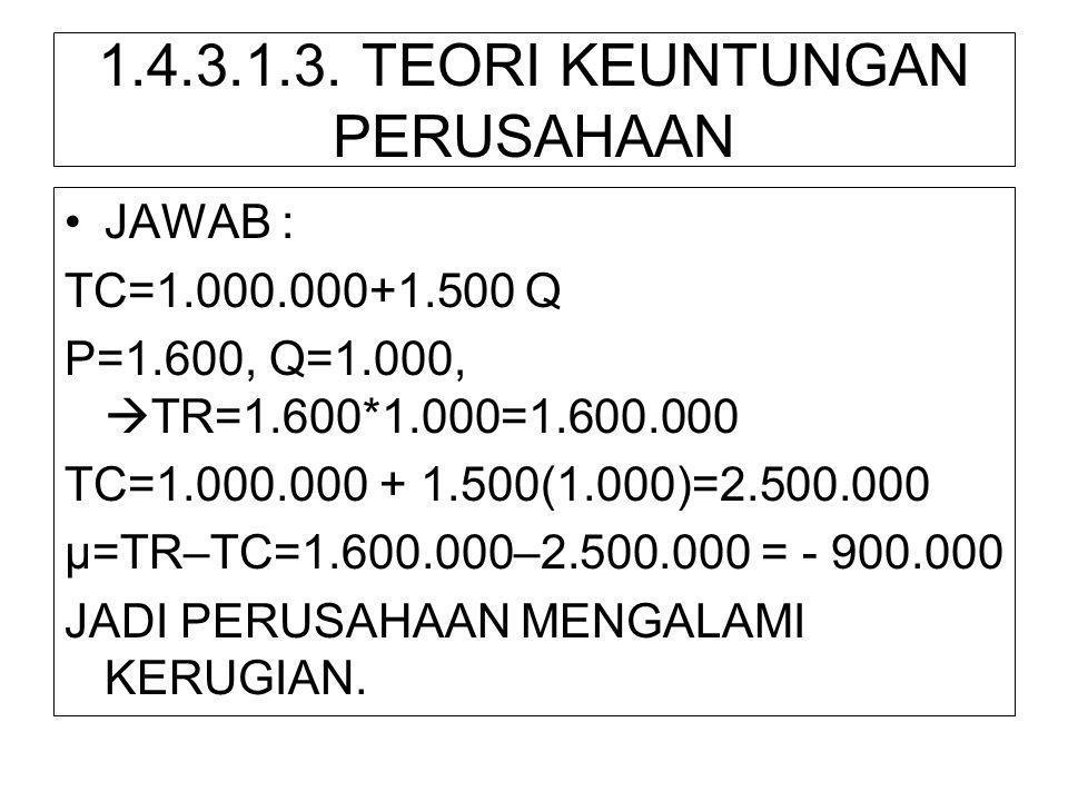 1.4.3.1.3. TEORI KEUNTUNGAN PERUSAHAAN •JAWAB : TC=1.000.000+1.500 Q P=1.600, Q=1.000,  TR=1.600*1.000=1.600.000 TC=1.000.000 + 1.500(1.000)=2.500.00