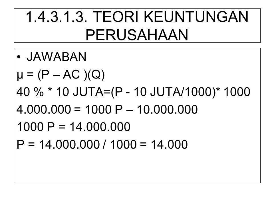 1.4.3.1.3. TEORI KEUNTUNGAN PERUSAHAAN •JAWABAN µ = (P – AC )(Q) 40 % * 10 JUTA=(P - 10 JUTA/1000)* 1000 4.000.000 = 1000 P – 10.000.000 1000 P = 14.0