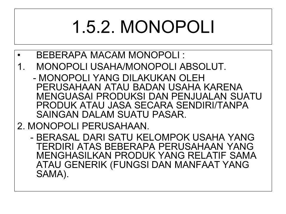 1.5.2. MONOPOLI •BEBERAPA MACAM MONOPOLI : 1.MONOPOLI USAHA/MONOPOLI ABSOLUT. - MONOPOLI YANG DILAKUKAN OLEH PERUSAHAAN ATAU BADAN USAHA KARENA MENGUA