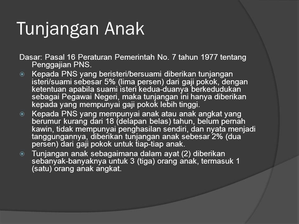 Tunjangan Anak Dasar: Pasal 16 Peraturan Pemerintah No. 7 tahun 1977 tentang Penggajian PNS.  Kepada PNS yang beristeri/bersuami diberikan tunjangan