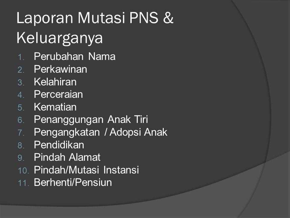 Laporan Mutasi PNS & Keluarganya 1.Perubahan Nama 2.