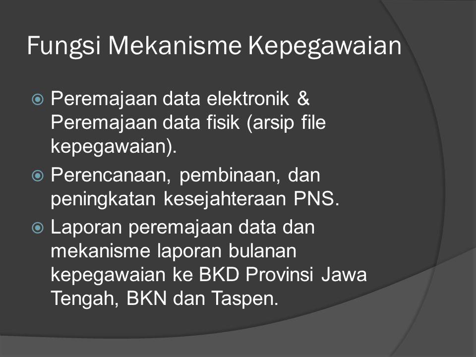 Fungsi Mekanisme Kepegawaian  Peremajaan data elektronik & Peremajaan data fisik (arsip file kepegawaian).  Perencanaan, pembinaan, dan peningkatan