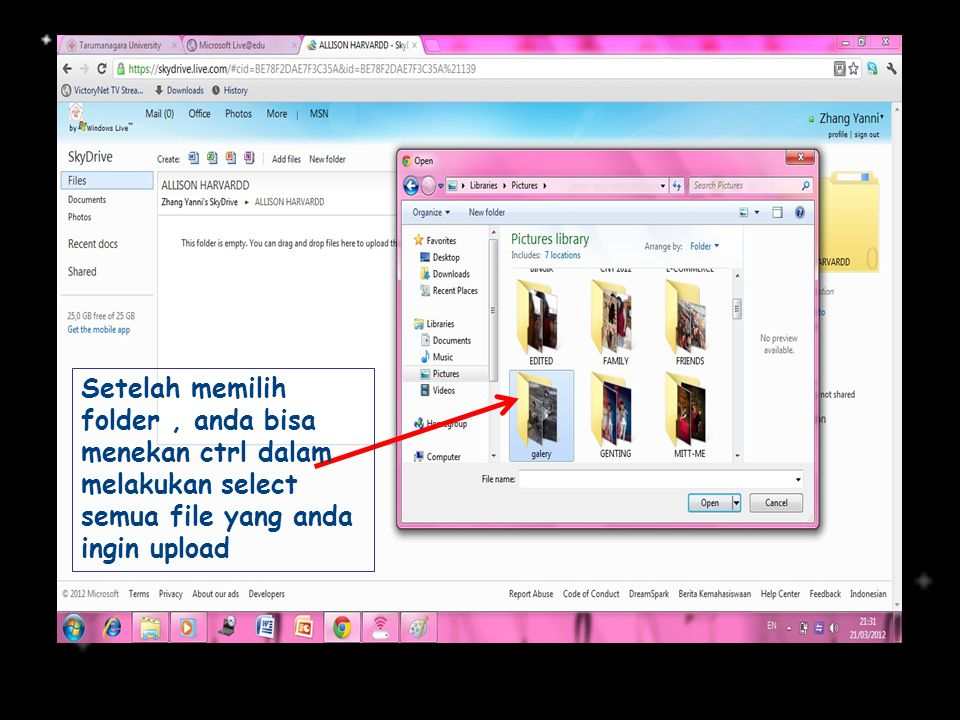 Setelah memilih folder, anda bisa menekan ctrl dalam melakukan select semua file yang anda ingin upload