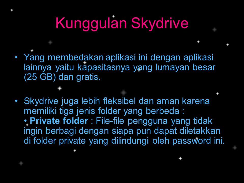 Kunggulan Skydrive •Y•Yang membedakan aplikasi ini dengan aplikasi lainnya yaitu kapasitasnya yang lumayan besar (25 GB) dan gratis. •S•Skydrive juga