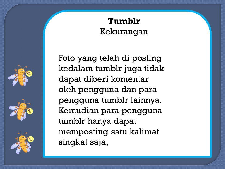 Tumblr Kekurangan Foto yang telah di posting kedalam tumblr juga tidak dapat diberi komentar oleh pengguna dan para pengguna tumblr lainnya.