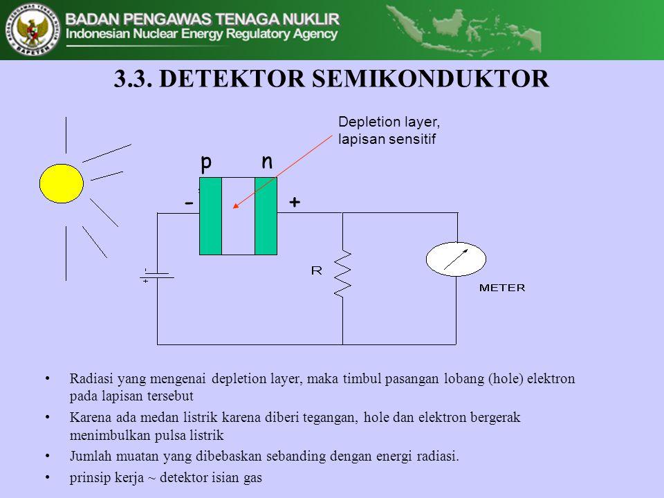 3.3. DETEKTOR SEMIKONDUKTOR •Radiasi yang mengenai depletion layer, maka timbul pasangan lobang (hole) elektron pada lapisan tersebut •Karena ada meda