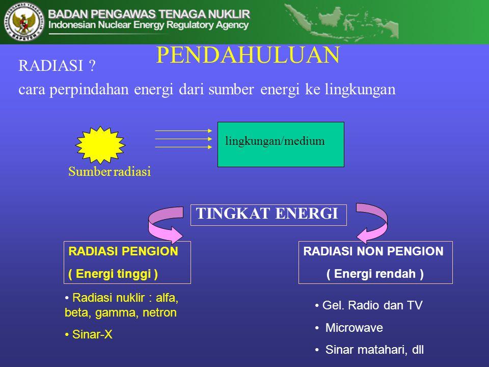 PENDAHULUAN RADIASI ? cara perpindahan energi dari sumber energi ke lingkungan lingkungan/medium Sumber radiasi TINGKAT ENERGI RADIASI PENGION ( Energ