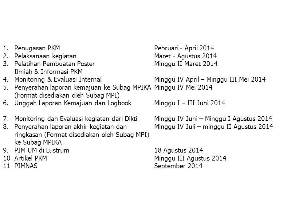 1.Penugasan PKMPebruari - April 2014 2. Pelaksanaan kegiatanMaret - Agustus 2014 3. Pelatihan Pembuatan Poster Minggu II Maret 2014 Ilmiah & Informasi