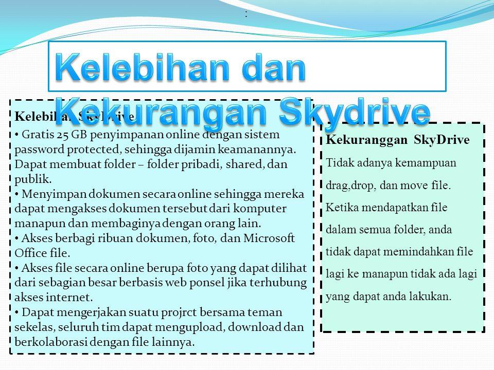 : Kelebihan SkyDrive • Gratis 25 GB penyimpanan online dengan sistem password protected, sehingga dijamin keamanannya. Dapat membuat folder – folder p