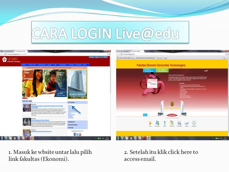 3. Masukkan user ID anda. Klik login / masuk 4. Anda sudah masuk di email live@edu anda.