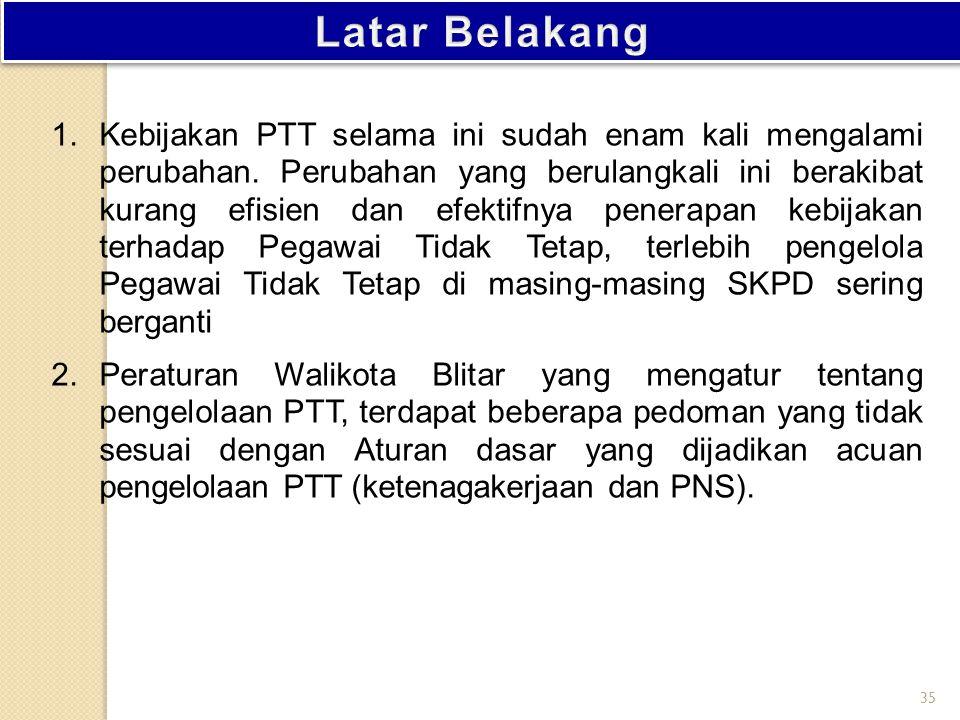 SELAYANG PANDANG PERUBAHAN KEBIJAKAN PTT (PEGAWAI TIDAK TETAP) Badan Kepegawaian Daerah Kota Blitar Subid Formasi dan Data Pegawai Blitar, 28 Mei 2013 34