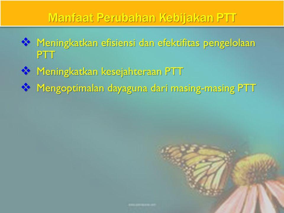 1.Kebijakan PTT selama ini sudah enam kali mengalami perubahan.