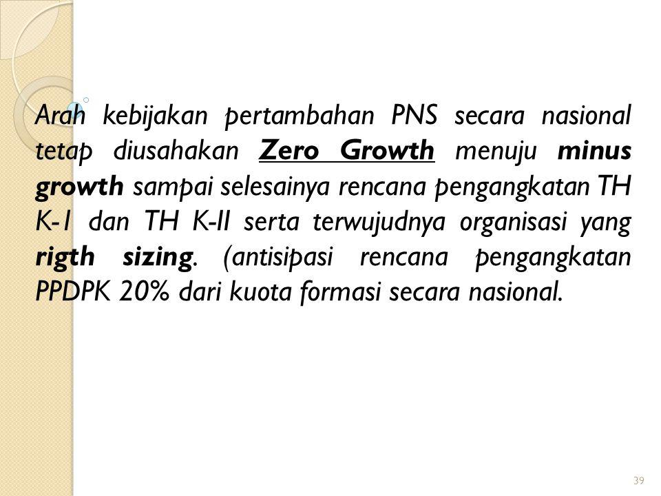 ARAH KEBIJAKAN UMUM FORMASI PNS TA 2013 Kebijakan umum alokasi formasi adalah Zero Growth secara Nasional dalam arti alokasi formasi nasional sebesar (sama dengan) jumlah PNS yang pensiun secara nasional 38