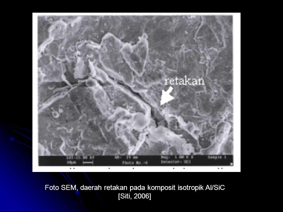 Foto SEM, daerah retakan pada komposit isotropik Al/SiC [Siti, 2006]