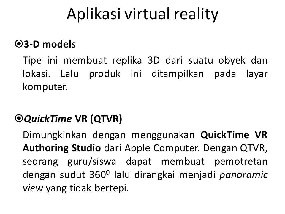 Aplikasi virtual reality  3-D models Tipe ini membuat replika 3D dari suatu obyek dan lokasi. Lalu produk ini ditampilkan pada layar komputer.  Quic