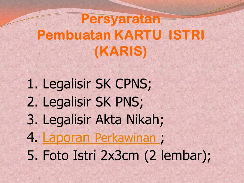 Persyaratan Pembuatan Kartu Pegawai (KARPEG) 1. Legalisir SK CPNS; 2. Legalisir SK PNS; 3. Legalisir Sertifikat Prajabatan; 4. Foto 2x3cm (2 lembar)