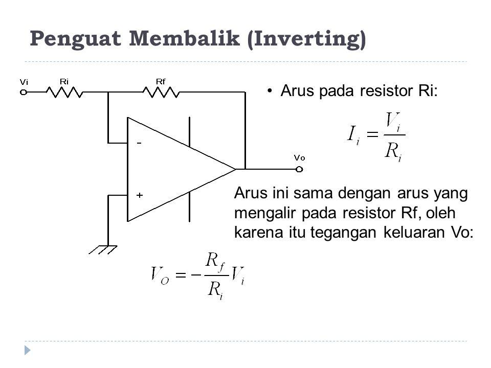 Penguat Membalik (Inverting) • Arus pada resistor Ri: Arus ini sama dengan arus yang mengalir pada resistor Rf, oleh karena itu tegangan keluaran Vo: