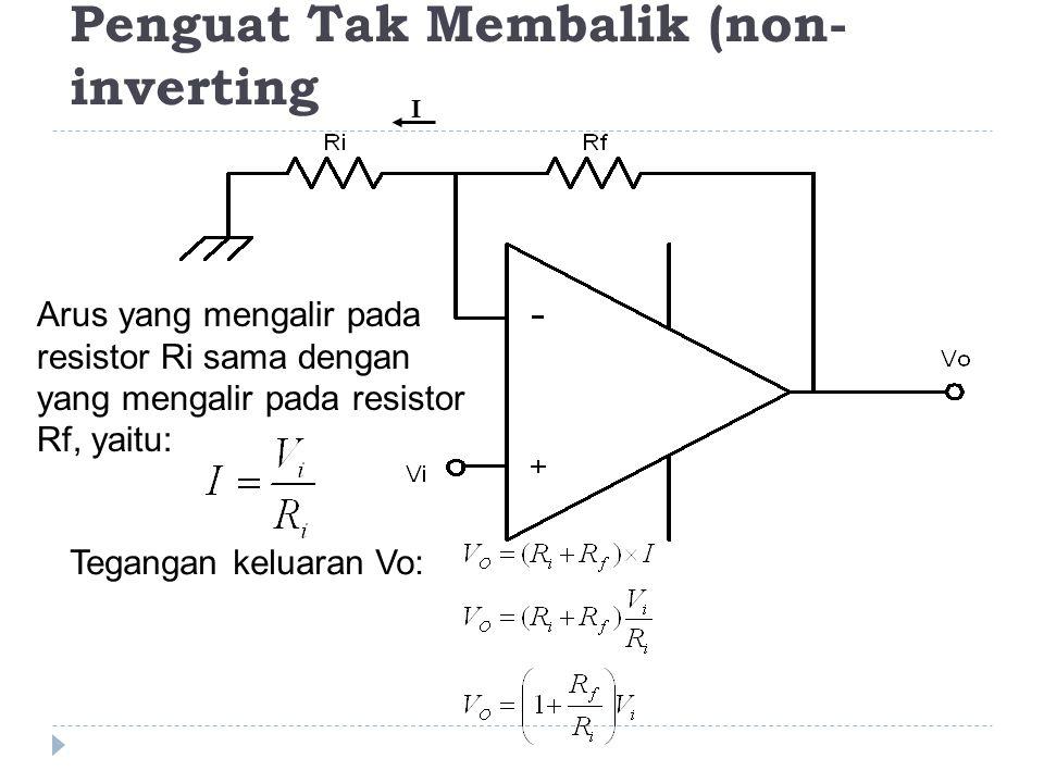 Penguat Tak Membalik (non- inverting Arus yang mengalir pada resistor Ri sama dengan yang mengalir pada resistor Rf, yaitu: Tegangan keluaran Vo: I