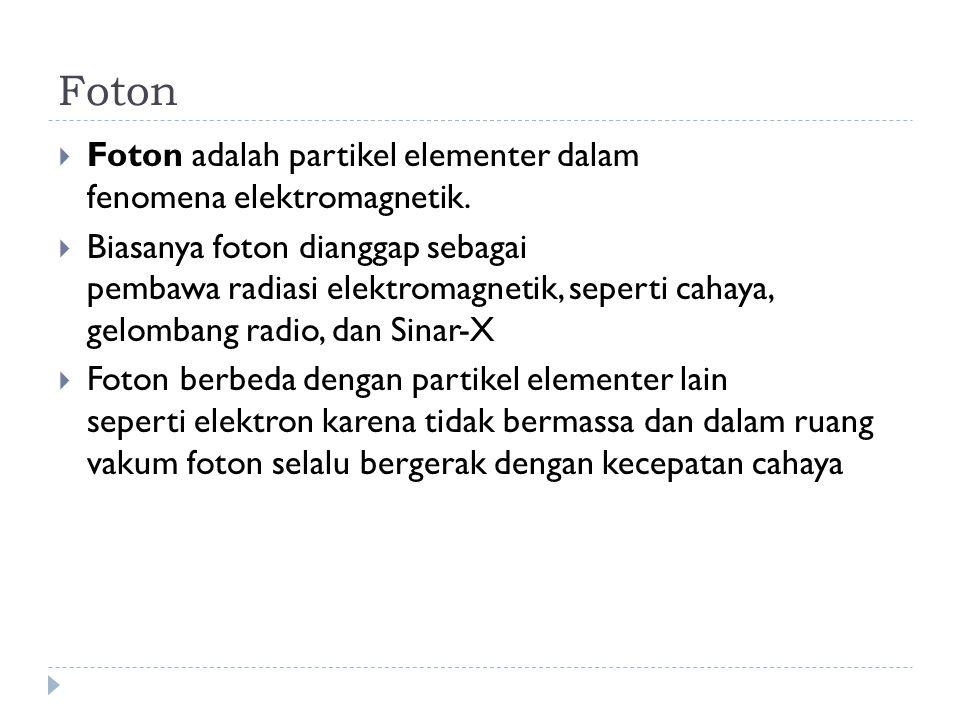 Foton  Foton adalah partikel elementer dalam fenomena elektromagnetik.  Biasanya foton dianggap sebagai pembawa radiasi elektromagnetik, seperti cah
