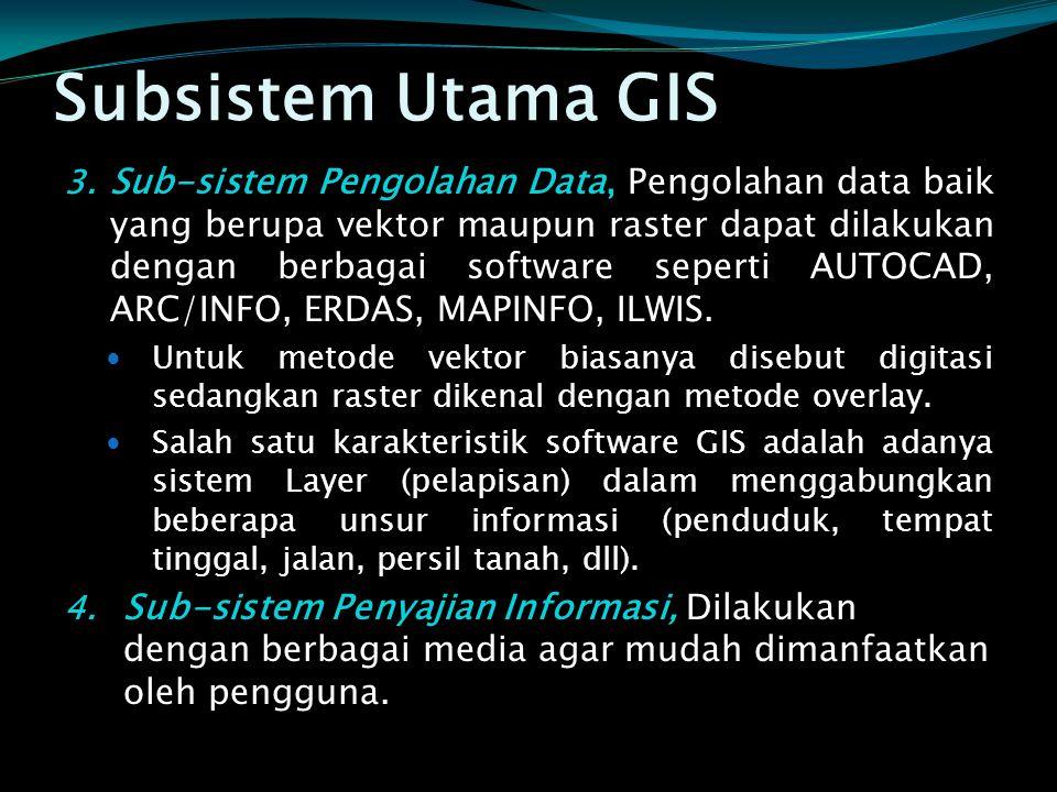 Subsistem Utama GIS 3. Sub-sistem Pengolahan Data, Pengolahan data baik yang berupa vektor maupun raster dapat dilakukan dengan berbagai software sepe