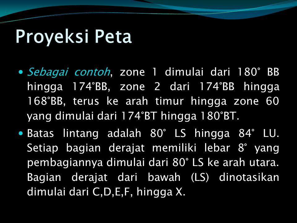 Proyeksi Peta  Sebagai contoh, zone 1 dimulai dari 180° BB hingga 174°BB, zone 2 dari 174°BB hingga 168°BB, terus ke arah timur hingga zone 60 yang d