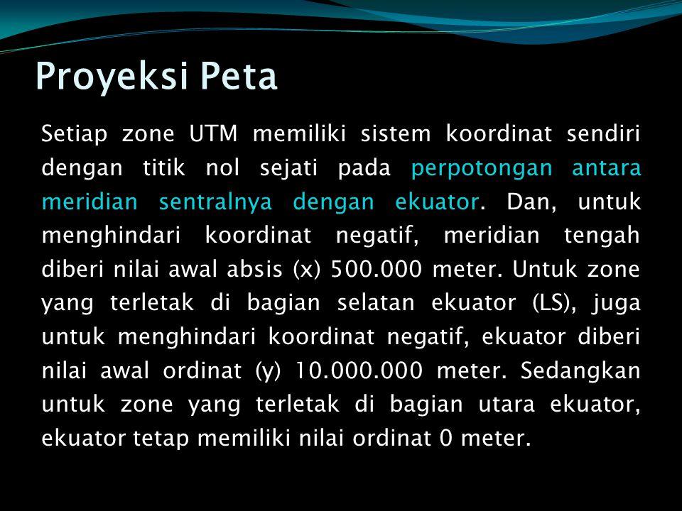 Setiap zone UTM memiliki sistem koordinat sendiri dengan titik nol sejati pada perpotongan antara meridian sentralnya dengan ekuator. Dan, untuk mengh