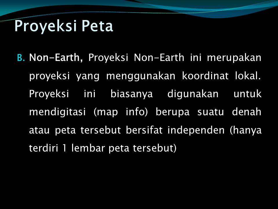 Proyeksi Peta B. Non-Earth, Proyeksi Non-Earth ini merupakan proyeksi yang menggunakan koordinat lokal. Proyeksi ini biasanya digunakan untuk mendigit