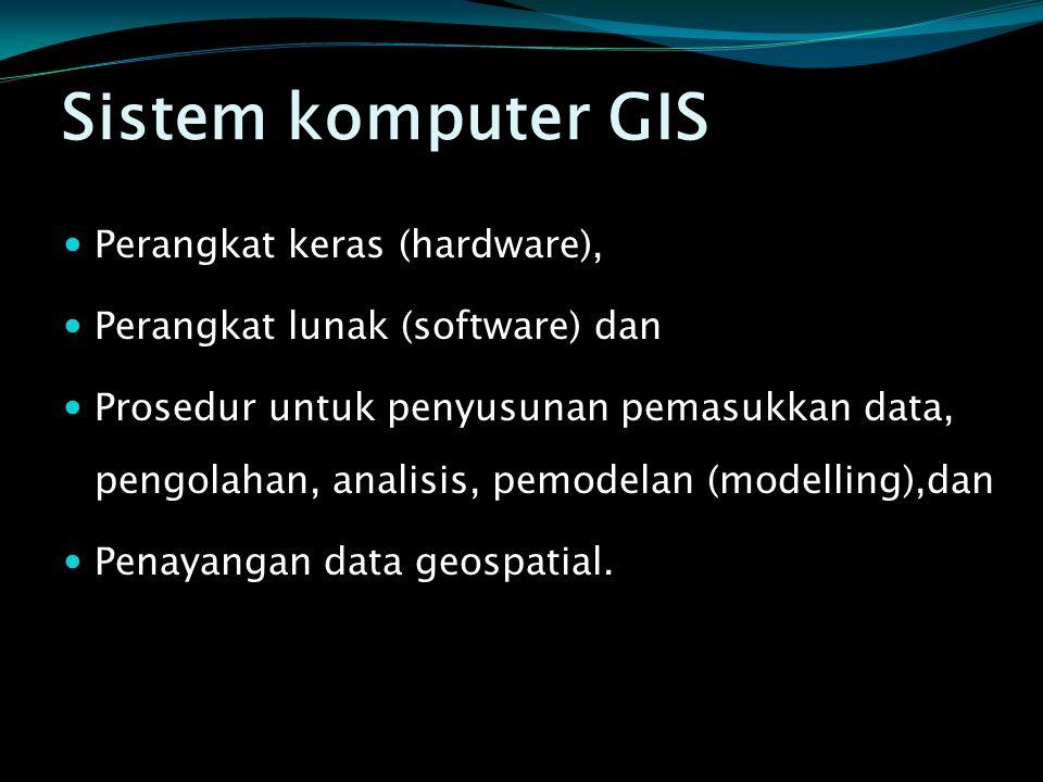 Sistem komputer GIS  Perangkat keras (hardware),  Perangkat lunak (software) dan  Prosedur untuk penyusunan pemasukkan data, pengolahan, analisis,