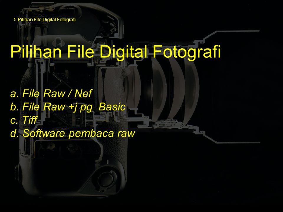 a. File Raw / Nef b. File Raw +j pg Basic c. Tiff d. Software pembaca raw ) Pilihan File Digital Fotografi 5.Pilihan File Digital Fotografi