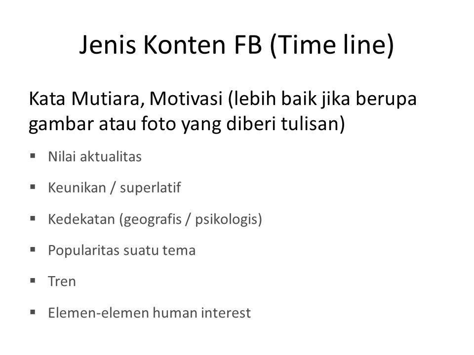 Jenis Konten FB (Time line) Kata Mutiara, Motivasi (lebih baik jika berupa gambar atau foto yang diberi tulisan)  Nilai aktualitas  Keunikan / super