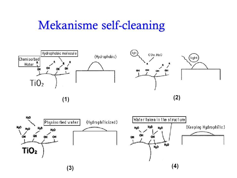 Mekanisme hidrofilik •Elektron mereduksi kation Ti(IV) menjadi Ti(III) •Hole mengoksidasi anion O 2 - •Atom oksigen diusir membentuk oksigen vacancy •