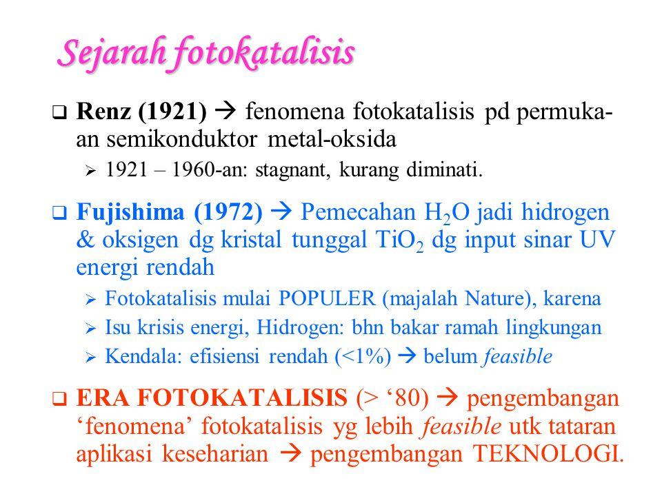 Sejarah fotokatalisis  Renz (1921)  fenomena fotokatalisis pd permuka- an semikonduktor metal-oksida  1921 – 1960-an: stagnant, kurang diminati.