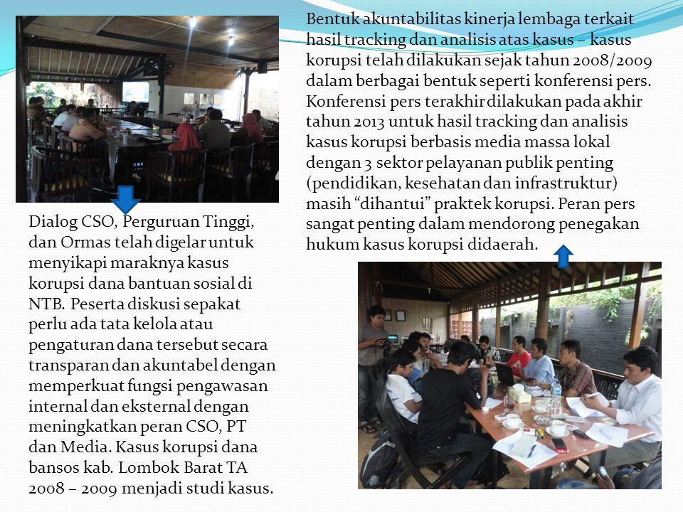 Dialog CSO, Perguruan Tinggi, dan Ormas telah digelar untuk menyikapi maraknya kasus korupsi dana bantuan sosial di NTB. Peserta diskusi sepakat perlu