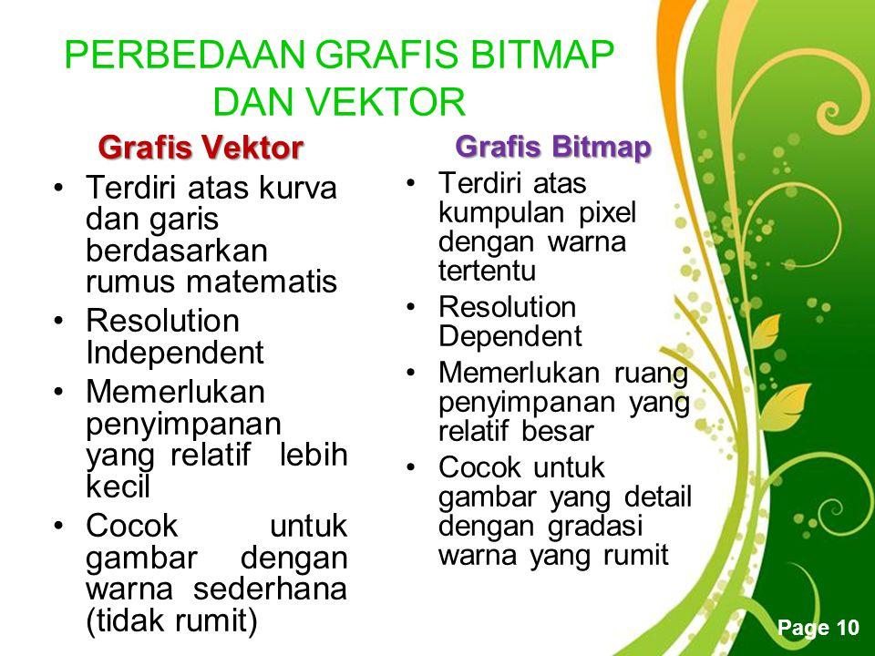 Free Powerpoint Templates Page 9 MACAM GRAFIS Grafis terbagi menjadi dua yaitu Grafis berbasis vektor dan bitmap. Keduanya sama-sama digunakan untuk m