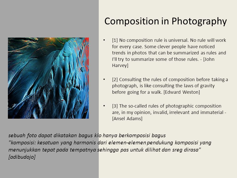 Composition in Photography • [1] No composition rule is universal.