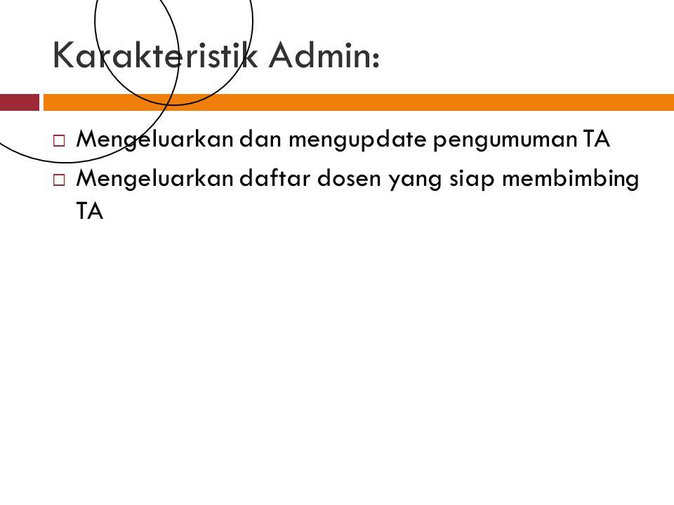 Karakteristik Admin:  Mengeluarkan dan mengupdate pengumuman TA  Mengeluarkan daftar dosen yang siap membimbing TA