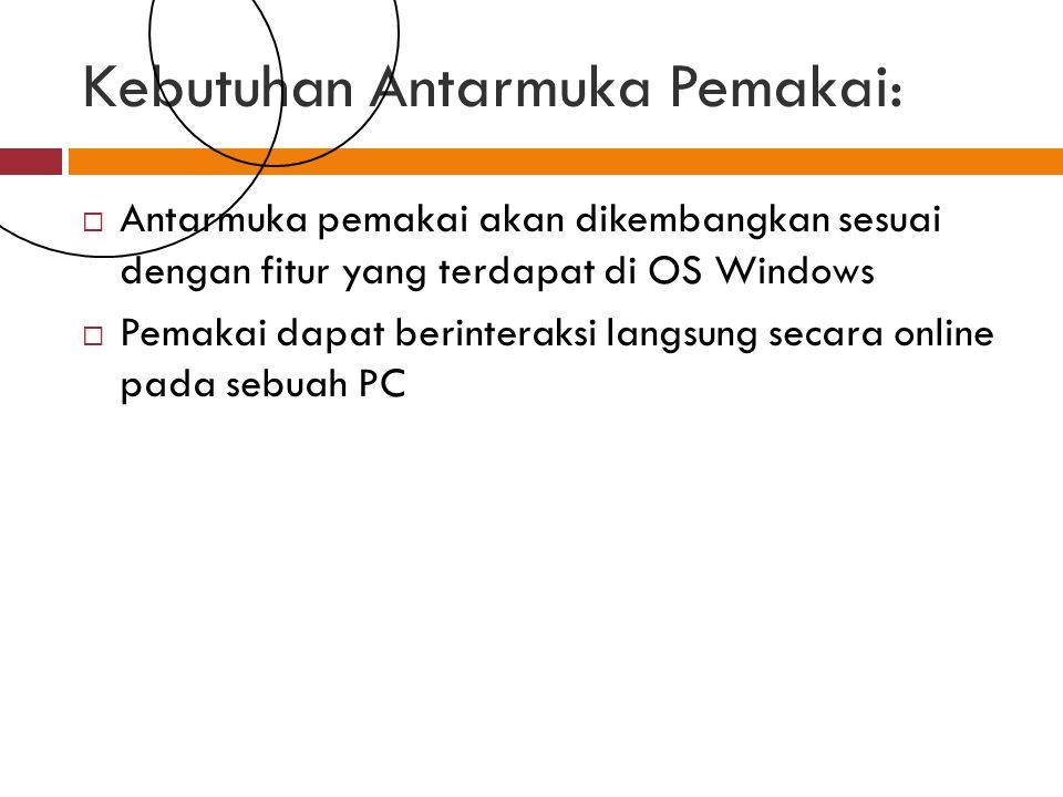 Kebutuhan Antarmuka Pemakai:  Antarmuka pemakai akan dikembangkan sesuai dengan fitur yang terdapat di OS Windows  Pemakai dapat berinteraksi langsung secara online pada sebuah PC