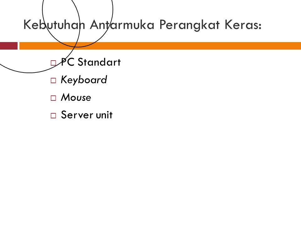 Kebutuhan Antarmuka Perangkat Keras:  PC Standart  Keyboard  Mouse  Server unit