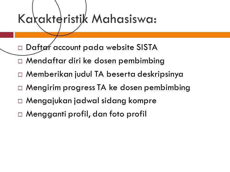 Karakteristik Mahasiswa:  Daftar account pada website SISTA  Mendaftar diri ke dosen pembimbing  Memberikan judul TA beserta deskripsinya  Mengirim progress TA ke dosen pembimbing  Mengajukan jadwal sidang kompre  Mengganti profil, dan foto profil