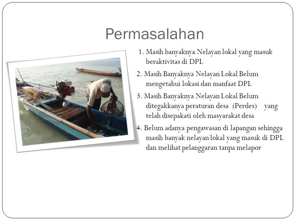 Permasalahan 1.Masih banyaknya Nelayan lokal yang masuk beraktivitas di DPL 2.