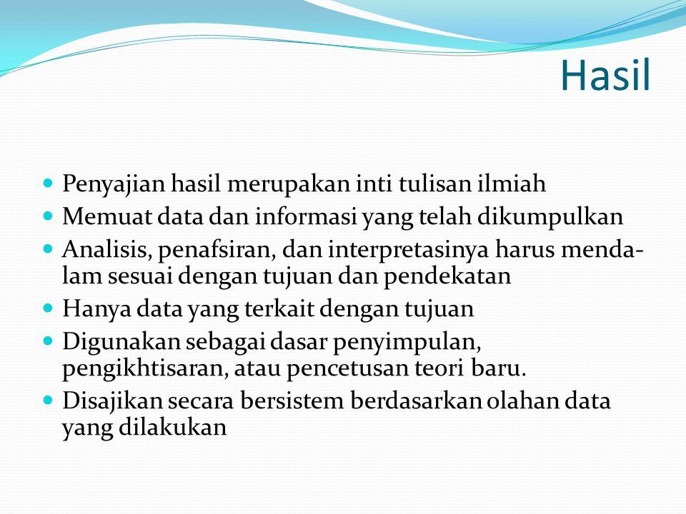 Hasil  Penyajian hasil merupakan inti tulisan ilmiah  Memuat data dan informasi yang telah dikumpulkan  Analisis, penafsiran, dan interpretasinya h