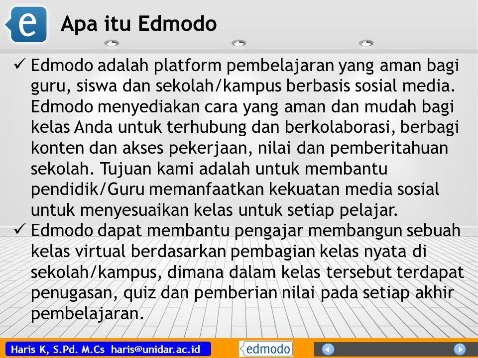 Haris K, S.Pd.M.Cs haris@unidar.ac.id Kenapa Edmodo.