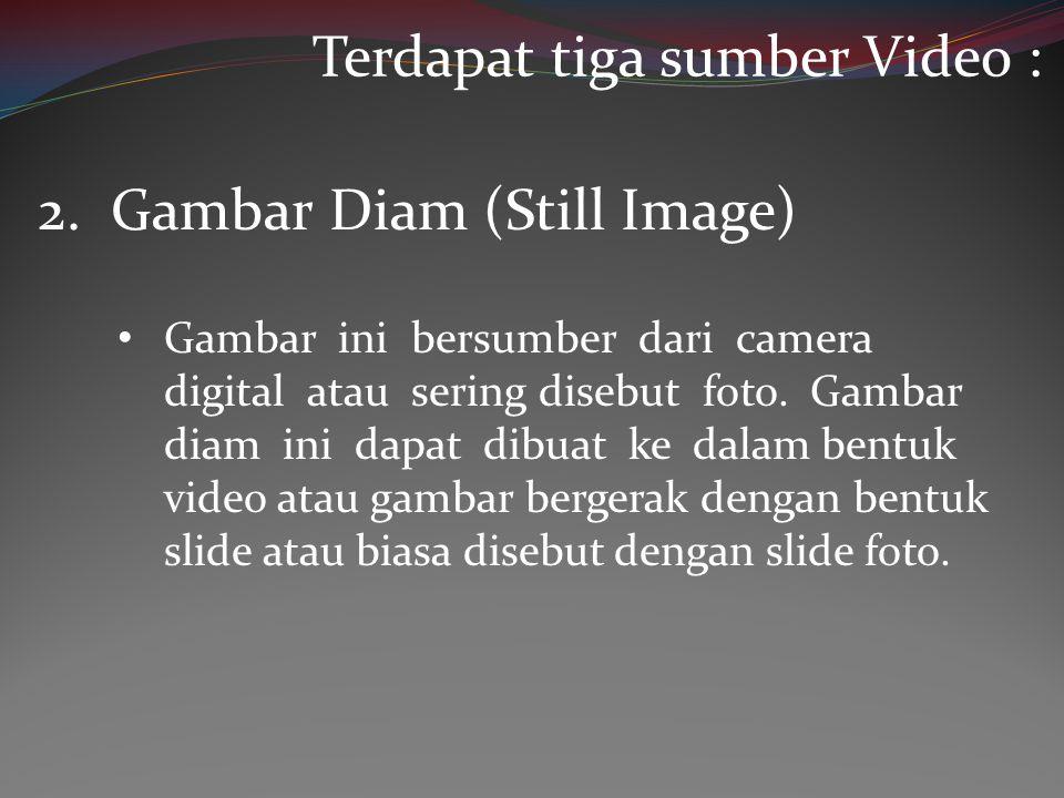 • Gambar ini bersumber dari camera digital atau sering disebut foto. Gambar diam ini dapat dibuat ke dalam bentuk video atau gambar bergerak dengan be