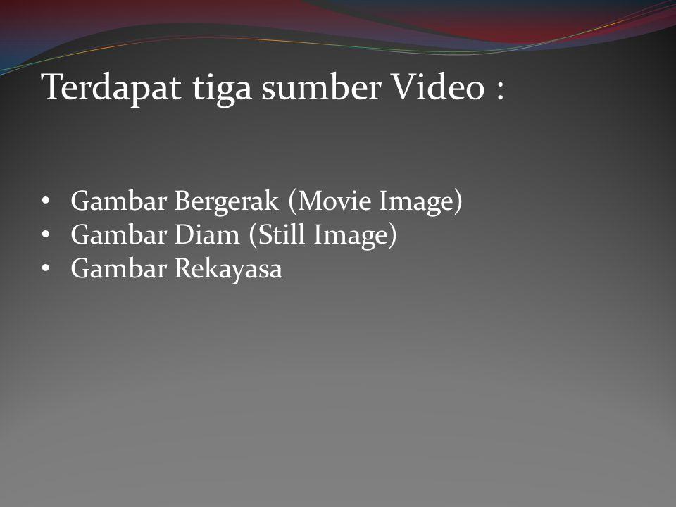 • Gambar Bergerak (Movie Image) • Gambar Diam (Still Image) • Gambar Rekayasa Terdapat tiga sumber Video :