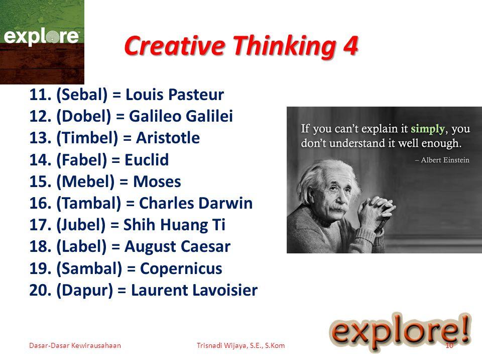 Creative Thinking 4 11.(Sebal) = Louis Pasteur 12.(Dobel) = Galileo Galilei 13.(Timbel) = Aristotle 14.(Fabel) = Euclid 15.(Mebel) = Moses 16.(Tambal)