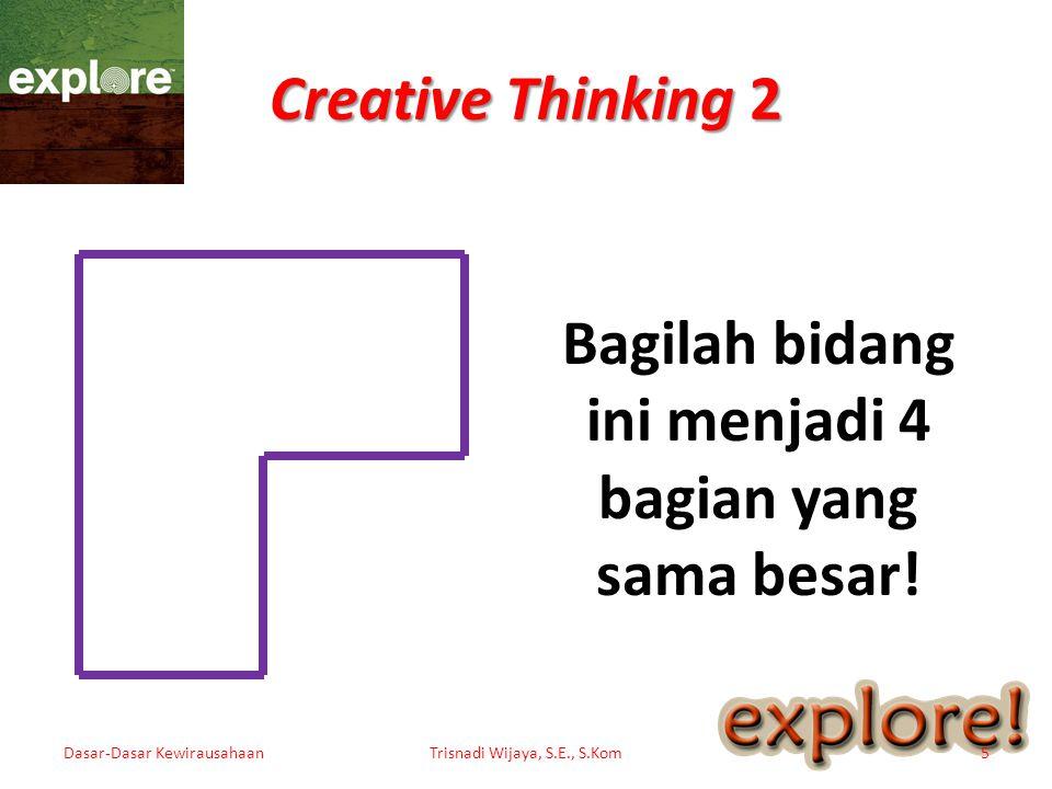 Creative Thinking 3 Dasar-Dasar KewirausahaanTrisnadi Wijaya, S.E., S.Kom6 Hubungkan keempat titik ini dengan empat buah garis lurus, di mana titik awal akan menjadi titik akhir, dan keempat titik itu terhubung semua.